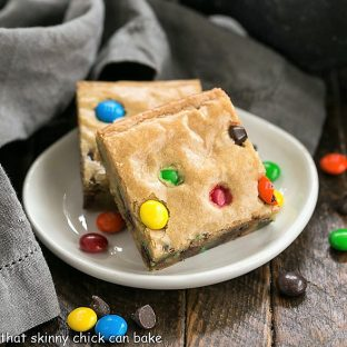 M & M Blondies on a white plate