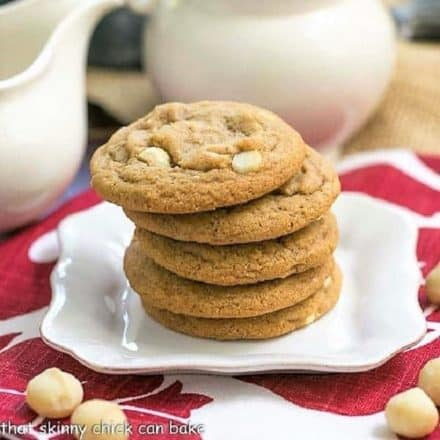Stack of White Chocolate Macadamia Nut Cookies