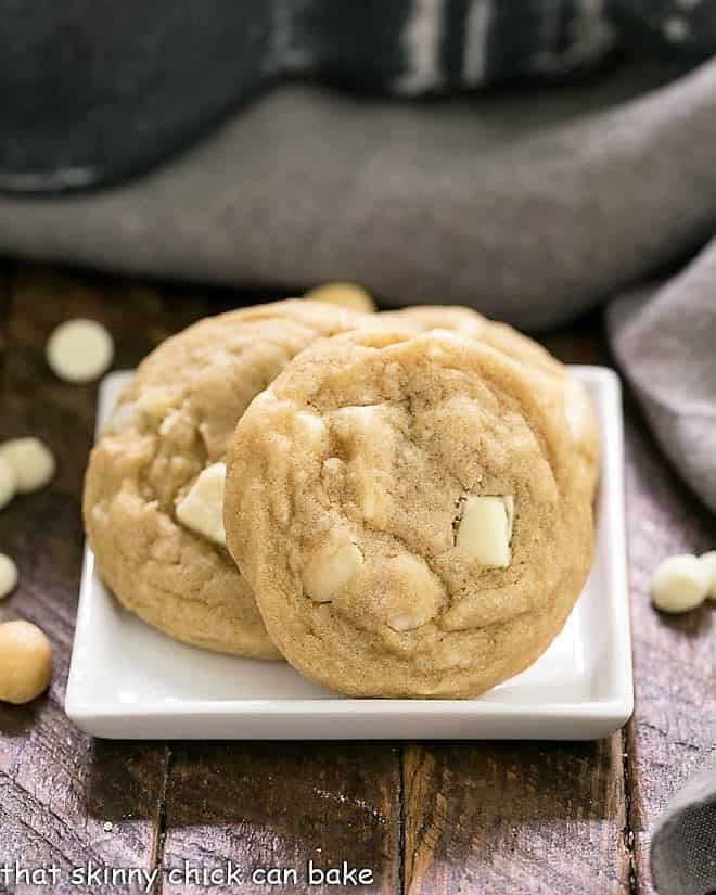 White Chocolate Macadamia Nut Cookies on a square white plate