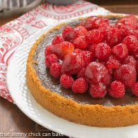 Berry Topped Chocolate Silk | Graham cracker crust filled with silky chocolate and topped with luscious glazed berries