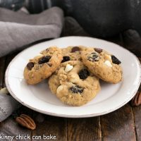 Oatmeal, Cherry and Chocolate Chip Cookies on a round white plate