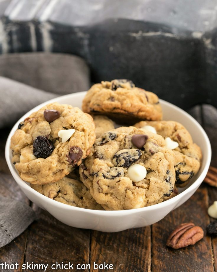 Oatmeal, Cherry and Chocolate Chip Cookies in a small white ceramic bowl