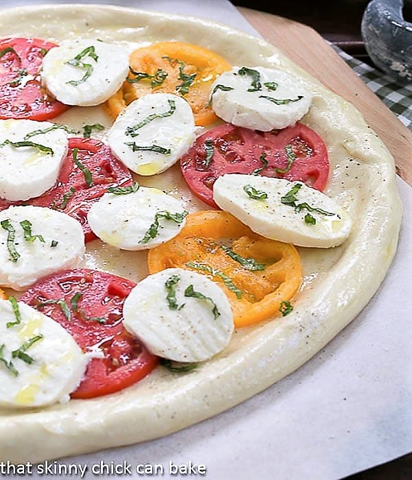Pizza Margherita ready for the oven