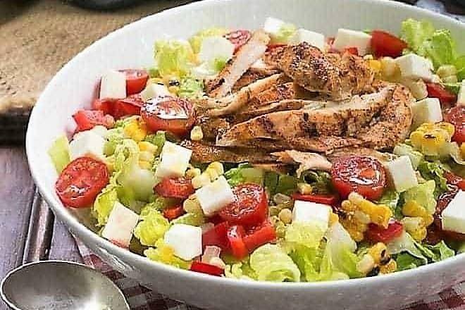 Southwestern Chicken Salad in a white ceramic salad bowl