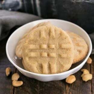 The Best Peanut Butter Cookies in a small white ceramic bowl