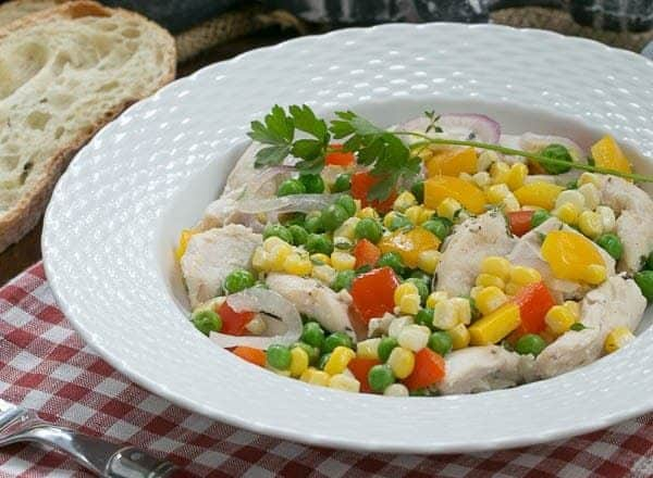 Chicken Peppers and Peas en Papillote | Chicken and vegetables cooked in foil packets