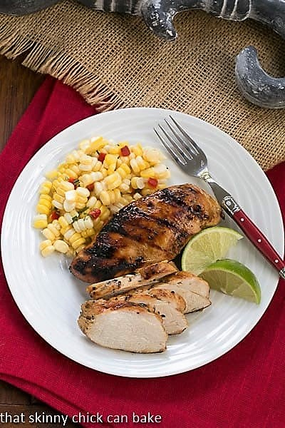 Overhead view of Mustard, Garlic and Lime Marinated Chicken Breasts on plate