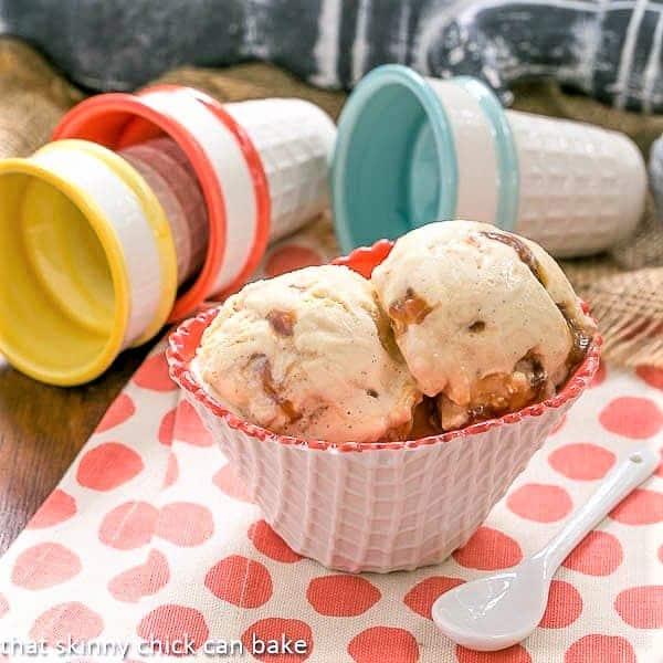 Vanilla Caramel Swirl Ice Cream in a white and peach waffle bowl