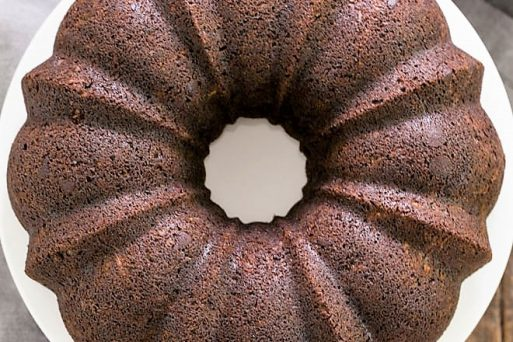 Overhead view of Chocolate Zucchini Bundt Cake