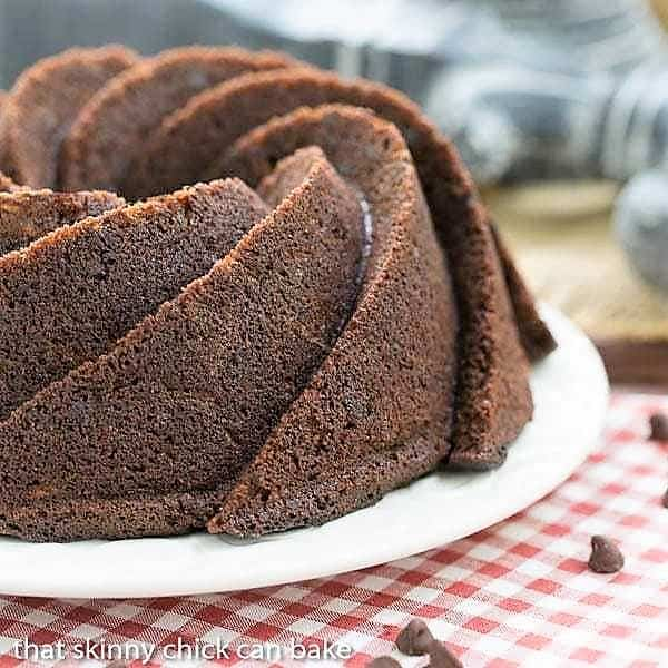 Chocolate Zucchini Bundt Cake on a white serving plate