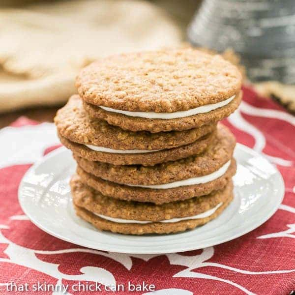 Oatmeal Creme Pies stacked on a white saucer