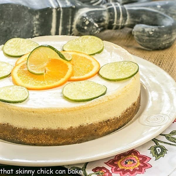 Margarita Cheesecake on a white serving plate