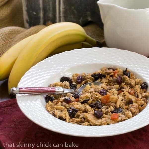 Pistachio Coconut Granola in a white cereal bowl