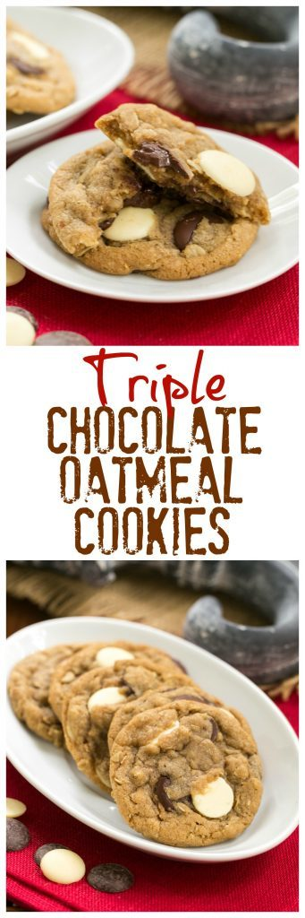 Chocolate oatmeal cookies collage with two photos and a text box