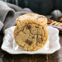 Brown Butter Toffee Cookies on a small square ceramic plate