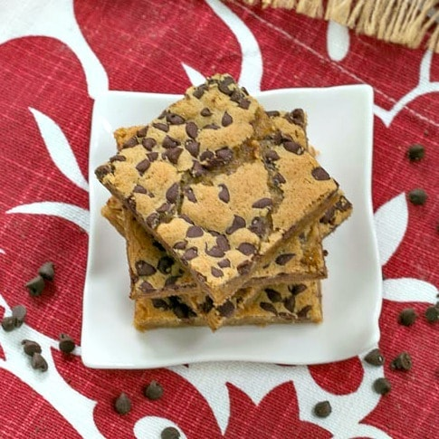 Overhead view of a stack of Chocolate Chip Topped Butterscotch Bars