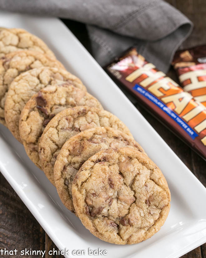Toffee Cookies on a white tray