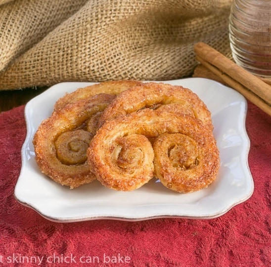Pumpkin-Palmiers on a small white plate on a red napkin