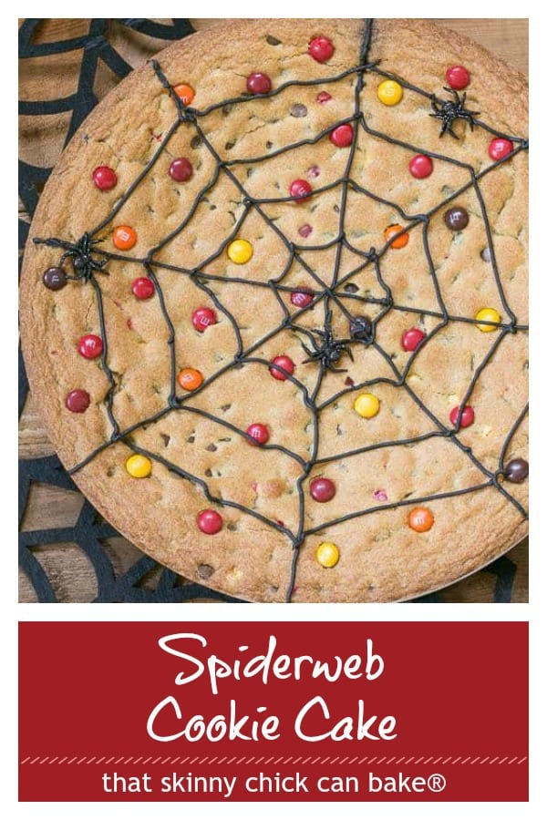 Spiderweb cookie cake photo and text collage