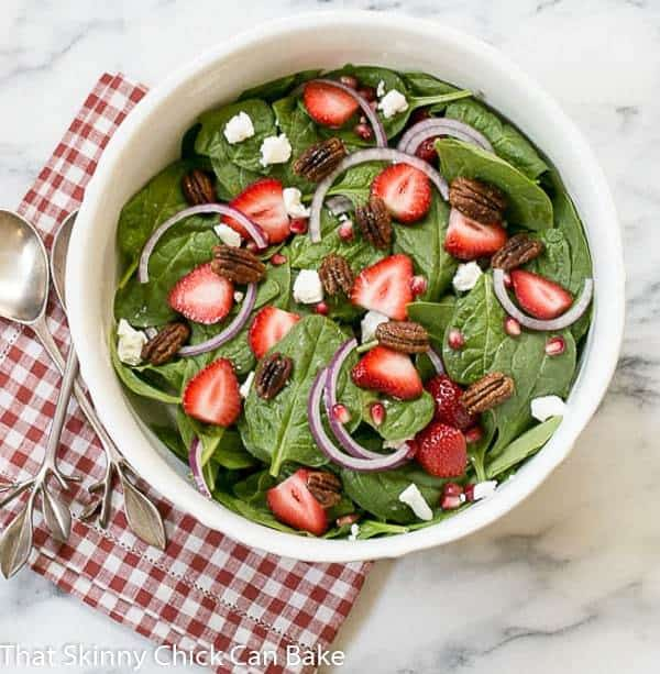 Spinach, Strawberry, Pomegranate, Feta Salad with the BEST balsamic vinaigrette