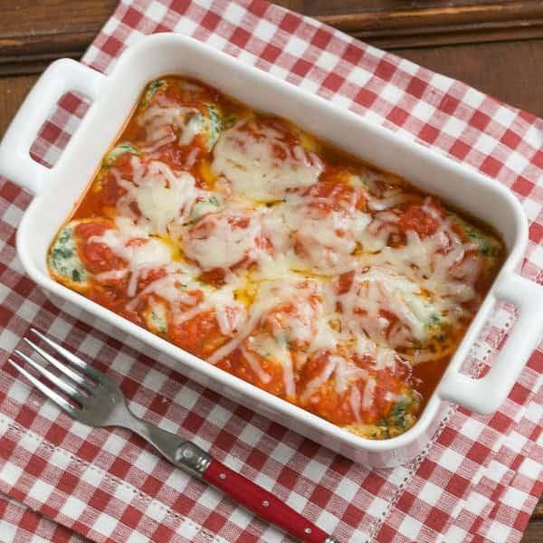 Storzapretis AKA Spinach Gnocchi in a white casserole dish