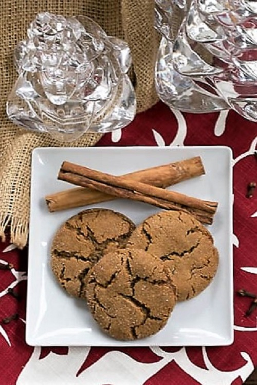 Triple Ginger Snaps on a white plate from an overhead view