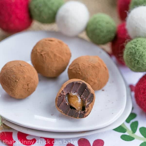 Caramel Filled Chocolate Truffles with interior exposed