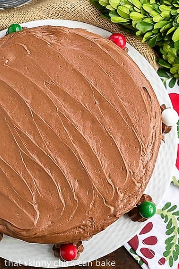 4 Layer Devil's Food Cake on a white serving plate overhead view