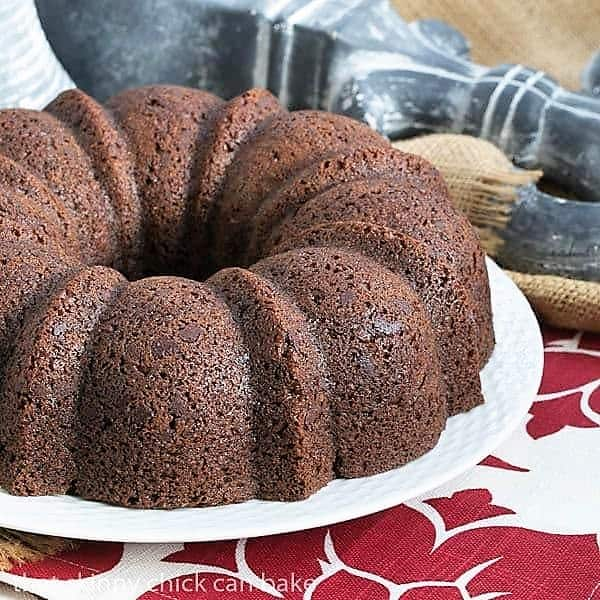 Kahlua Bundt Cake on a white serving plate