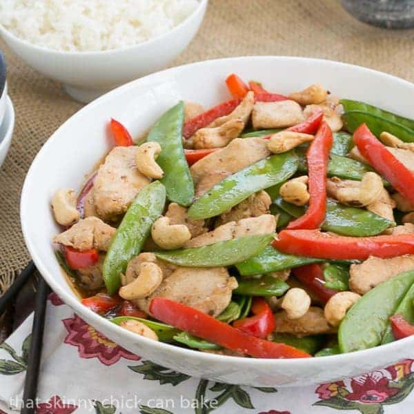 Easy Cashew Chicken in a white serving bowl