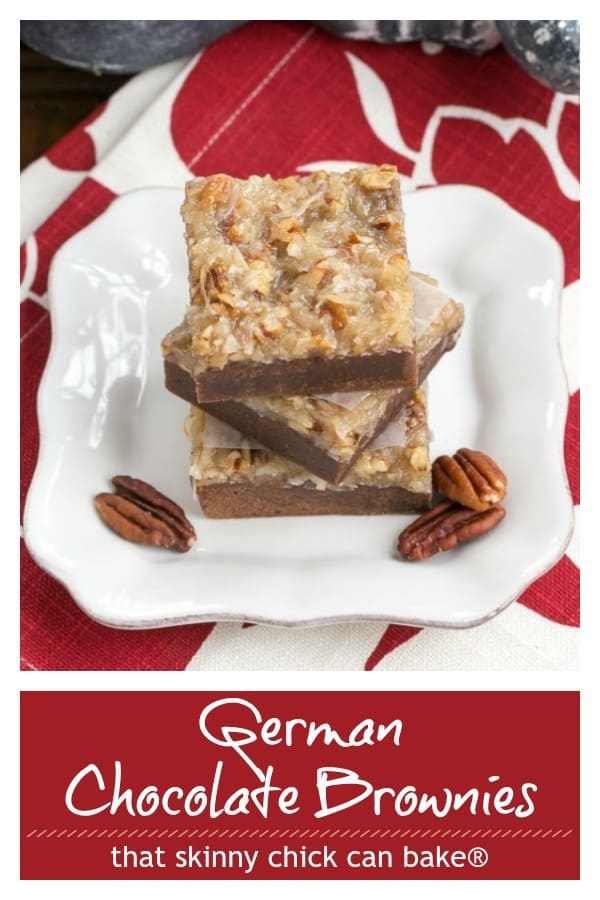 German Chocolate Brownies - Fudgy brownies topped with a caramelly, coconut, pecan topping #Germanchocolatedessert #germanchocolatebrownies #brownies #coconut #pecans #chocolate #brownies #thatskinnychickcanbake