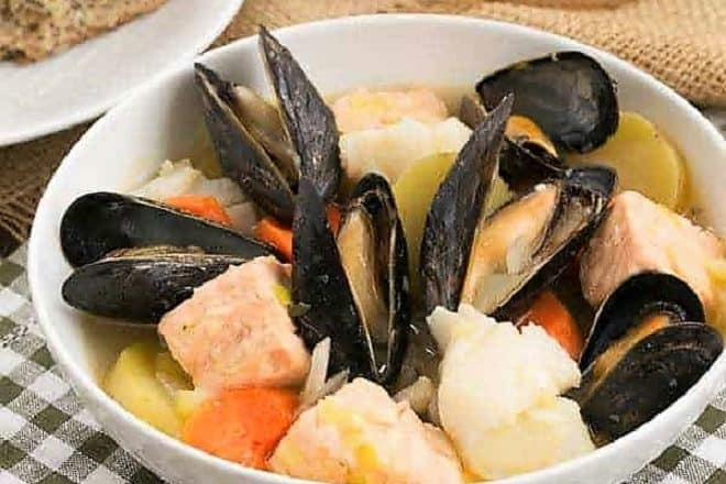 Simplest Breton Fish Stew in a white soup bowl