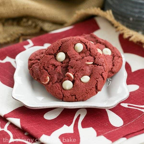 Red Velvet Cookies on a square white plate
