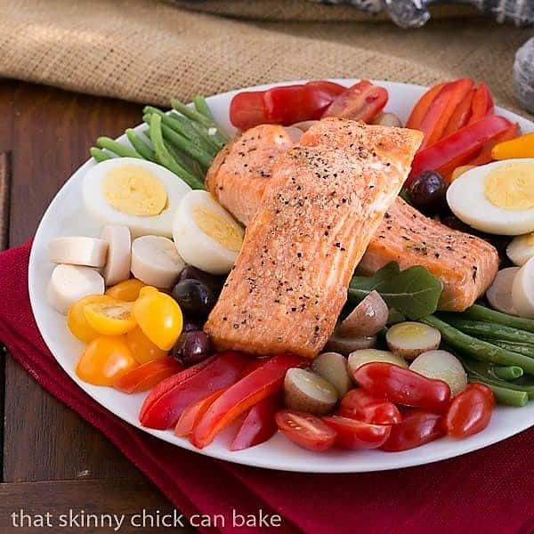 Salmon Salad Nicoise on a white serving plate