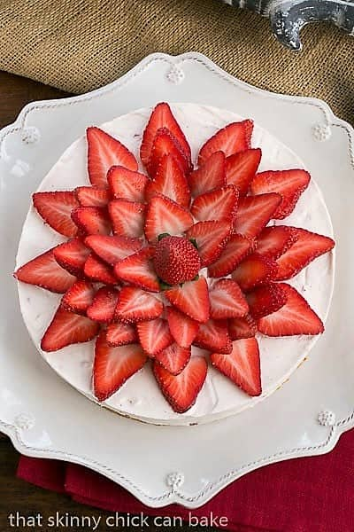 Overhead view of Strawberry Vanilla Cream Pie topped with fresh strawberry slices