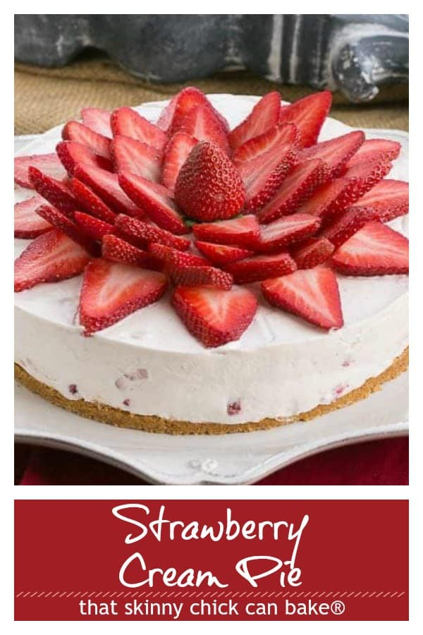 Strawberry Vanilla Cream Pie Pinterest text and photo collage