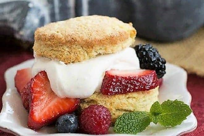 Berry Shortcake with a dollop of whipped cream