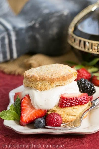 Berry Shortcake - Sweet tender biscuits topped with berries and mascarpone whipped cream