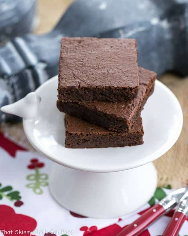 Close vies of a stack of Flourless Mocha Brownies