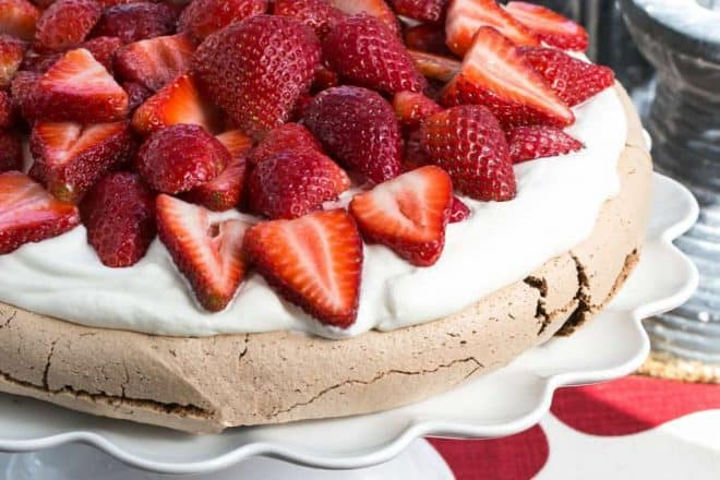 Chocolate Pavlova | A chocolate meringue topped with mascarpone cream and luscious strawberries