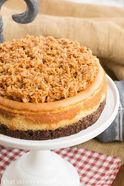 Samoa Cheesecake with a Coconut Caramel Topping