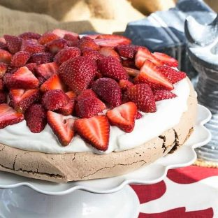 Strawberry topped chocolate pavlova featured image
