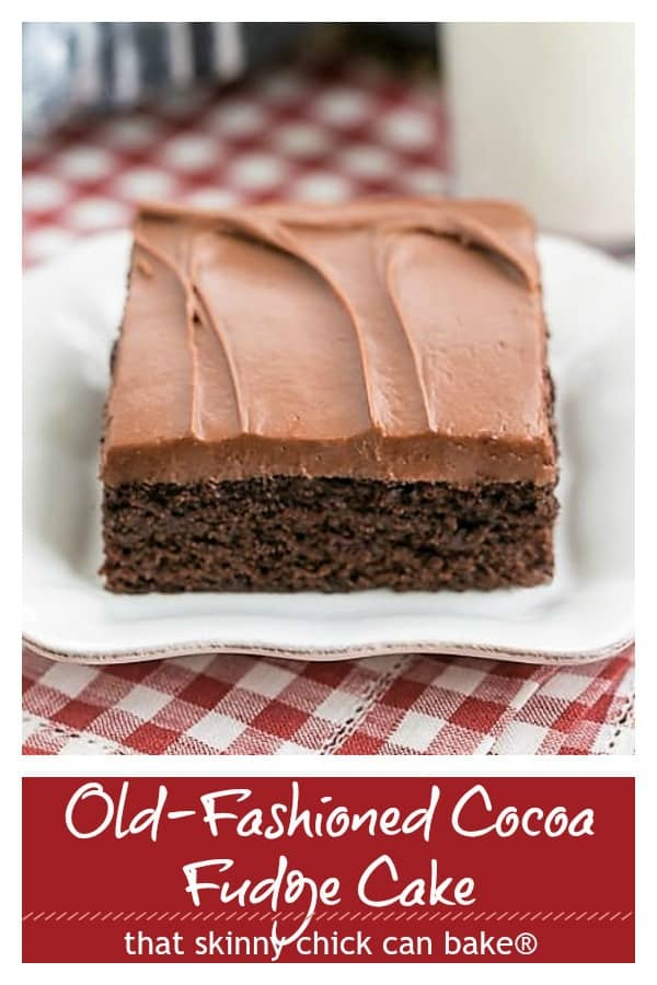 Old fashioned Cocoa Fudge Cake pinterest collage