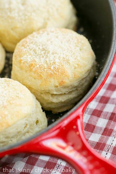 Buttermilk Goat Cheese Biscuits in a red skillet
