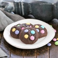 Easter Candy Brownie Cookies on on a white dessert plate