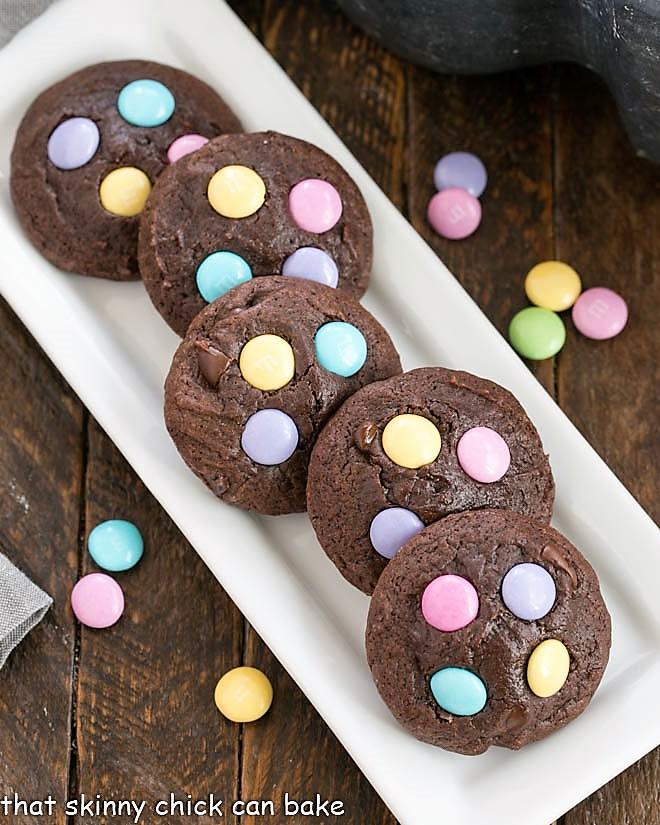 Easter Candy Brownie Cookies on a white tray with M&Ms