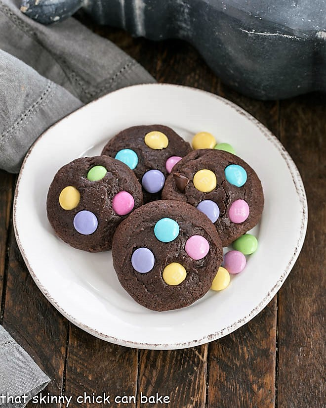 Overhead view of Chocolate Cookies with Easter M&Ms