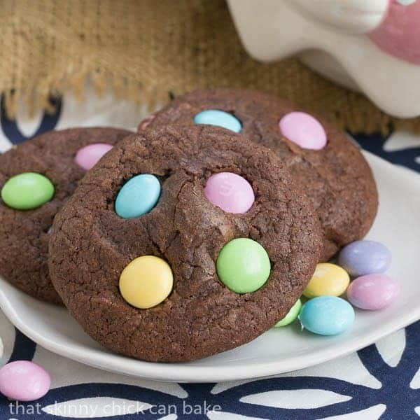Close up of Easter Candy Brownie Cookies on a small white plate
