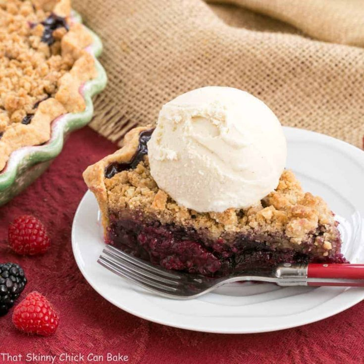Razzleberry Pie | A delectable triple berry pie with a sweet, buttery crumb topping