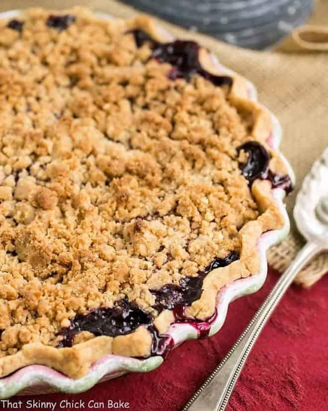 Razzleberry Pie or Triple Berry Pie in a ceramic pie plate